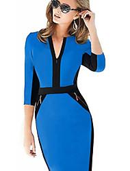S&Z Women's Slim Joint Zipper Half Sleeve Bodycon Pencil Skirt