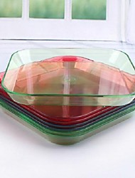 Colorful Square Fruit Plate Food Dish Storage Box Plastic 15cm x 15cm x 2cm