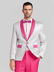 Hot Pink&Light Gray Polyester Tailored Fit Two-Piece Tuxedo