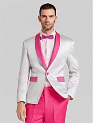rose vif&polyester gris clair coupe près du corps en deux parties smoking