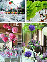 10 PCS 8 Inch Tissue Paper  Crafts Pom Poms Flower Party Decoration (Assorted Color)