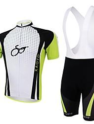 XAOYO Men's Breathable Polyester Short Sleeve Cycling Bib Suit-Yellow+Black