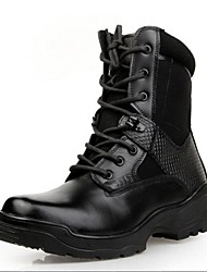 Men's Shoes Cap-toe Low Heel Leather Ankle Boots with Lace-Up