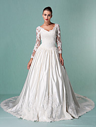 Lanting Ball Gown Plus Sizes Wedding Dress - Ivory Chapel Train V-neck Satin/Tulle