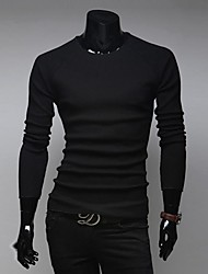 Men 's Simple Round Collar Pure Color Long Sleeve Knit  of Cultivate One's Morality Sweater