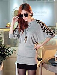 dameskleding najaar nieuwe vleermuis mouw luipaard stiksels losse grote werven lange mouw t-shirt