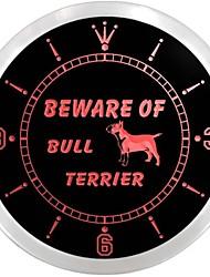 méfiez-vous de bull terrier décor de chien néon led horloge murale