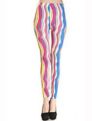 Skymoto®Women's Thin Colorful Rainbow Stripe Leggings