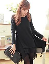 Women's Korean Loose Casual Long Sleeve Irregular Hem Dress