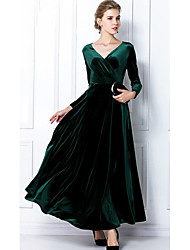 BAIGE Women's Fashion V Neck Long Sleeve Dark Green Long Dress