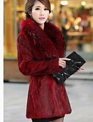 Women's Autumn Elegant Atmosphere Imitation Mink Coat in Self-cultivation Windbreaker long Coat