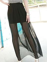 vrouwen korean zwart gaas elastische taille plus size rok