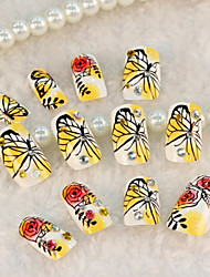 24PCS Cartoon Butterfly Yellow Nail Art Tips With Nail Glue&Nail File