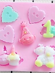 bebé corazón de chocolate fondant pastel arcilla resina de silicona dulces estera molde, l7cm * w7cm * h1cm