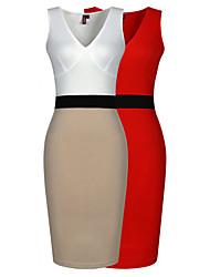fashion v neck sleeveless contrast color dress