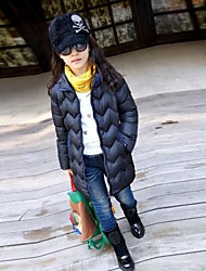 Girl's Fashionable High Grade Pure Color Warm Long Coat