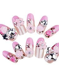 24+4PCS Rhinestone Pink Flower Wedding Nail Art Tips With Free Gift