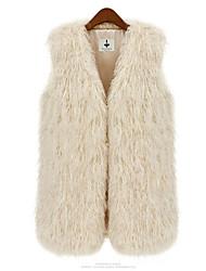 XT Solid Color Fur Waistcoat_1 (Black,Cream)