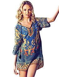 nueva impresión floral vestido de gran patio suelta étnica