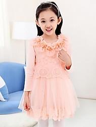 vestidos de manga larga de algodón de la muchacha (más colores)