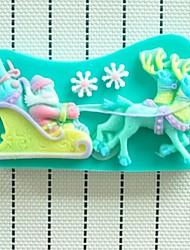 veados Noel bolo fondant de natal molde de resina de chocolate silicone, l13cm * w7.2cm * h1.3cm
