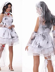 Cosplay Costumes / Party Costume Zombie Festival/Holiday Halloween Costumes White Solid Dress / Gloves / Headwear Halloween Female