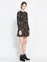 vestido de la envoltura de las mujeres de la vendimia de prendas de punto estampado floral de manga larga