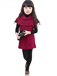 Girl's Blue / Red Dress,Solid Cotton Blend Winter / Spring / Fall