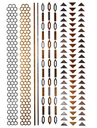 1Pcs Long Triangle Bracelet Jewelry Inspired  Metallic Gold  and  Silver Tattoo Stickers Temporary Tattoos