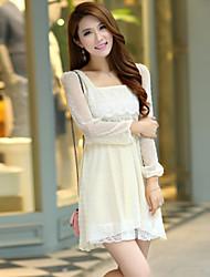 Women's Cute Dress Above Knee Short Sleeve Beige All Seasons