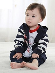 Boys' New Fashion Style Lovely Carton Stripe Hoodies There-piece Clothing Sets