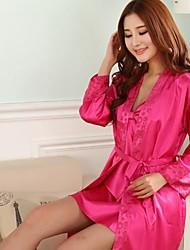 furuixiang® Damen Kurzarm Nacht-Robe und Sex mit imitierten Seidenstoff Pyjamas