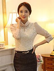 j&k gola alta camisa de renda das mulheres