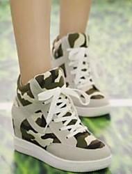 Zapatos de mujer - Tacón Cuña - Comfort / Punta Redonda - Sneakers a la Moda - Casual - Tela - Negro / Beige