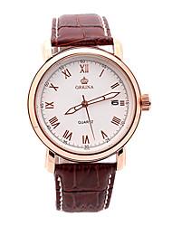 v6 fecha esfera blanca de cuarzo reloj de pulsera de cuero marrón deporte orn0193