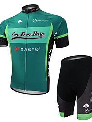 XAOYO Men's Breathable Polyester Short Sleeve Cycling Suit-Green+Black