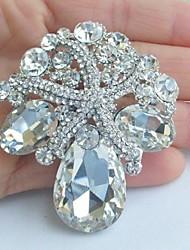 Women's Vintage Alloy Clear Rhinestone Crystal Starfish Bridal Brooch Wedding Jewelry
