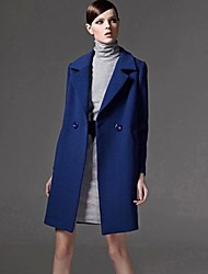 Women's Coat,Solid Long Sleeve Fall / Winter Blue Cotton Thick