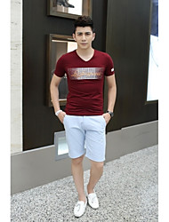 Herren T-shirt-Druck Freizeit Baumwolle / Elasthan Kurz-Blau / Rot