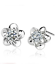 Dinghua Women's Flower Shape Diamante Earrings