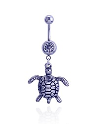 Lureme®Alloy Turtle Crystals Pendant Navel Ring