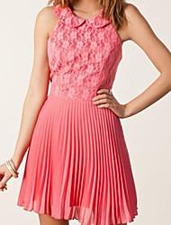 vestido de noche de gasa plisada de color rosa de encaje de flores de las mujeres