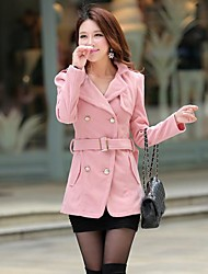 Women's Slim Double Breasted Solid Color Tweed Coat