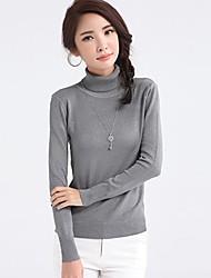 женская тонкий высокий воротник равнина overpull вязаный свитер