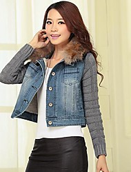 Women's Jean Denim Fur Collar Knitted Sleeves Jacket