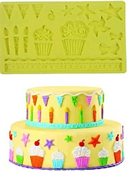 Lace Star Bowknot Baking Fondant Cake Chocolate Candy Mold,L19.8m*W12.6cm*H0.75cm