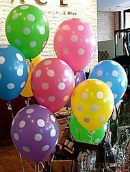 Цветной шар с белой точкой - набор 10 (больше цветов)
