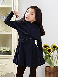 Skymoto®Girl's Older Chirdren Peter Pan Collar With Cloak Woolen Trench Coat