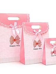 coway 3pcs borboleta rosa nó inferior colagem sacos de moda festa fresco saco de presente de papel conjunto