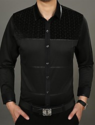 Men's Horizontal Stripes Printing Cotton Long Sleeved Shirt
